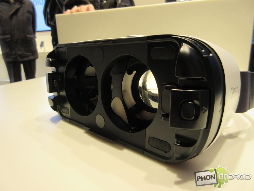 Samsung Gear VR, lentilles en vue extérieure