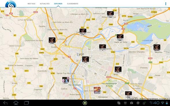 shazam donnees localisation carte