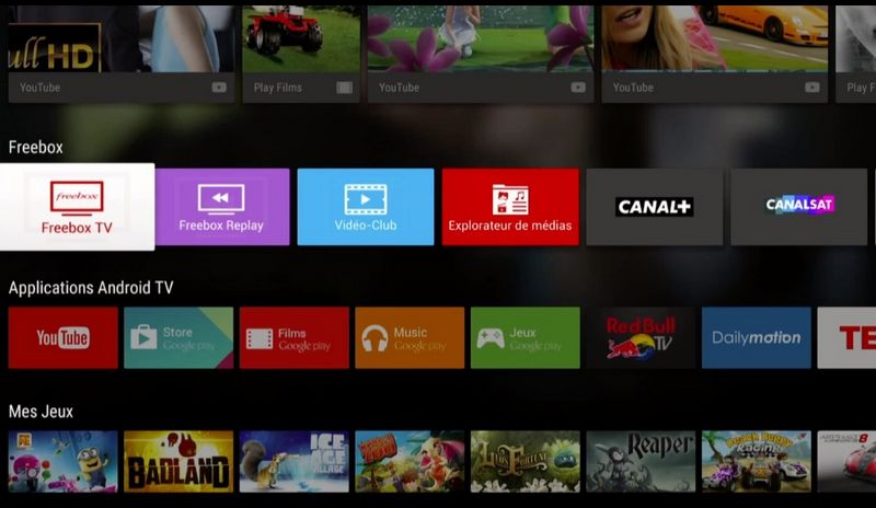 Android TV, l'interface de la Freebox
