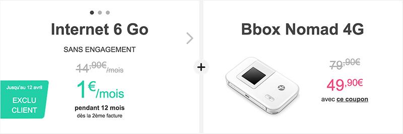 bouygues telecom bbox nomad forfait data 6Go 1e