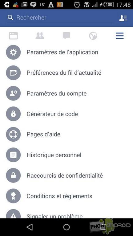 désactiver navigateur Facebook