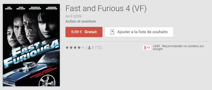 Fast and Furious 4 gratuit