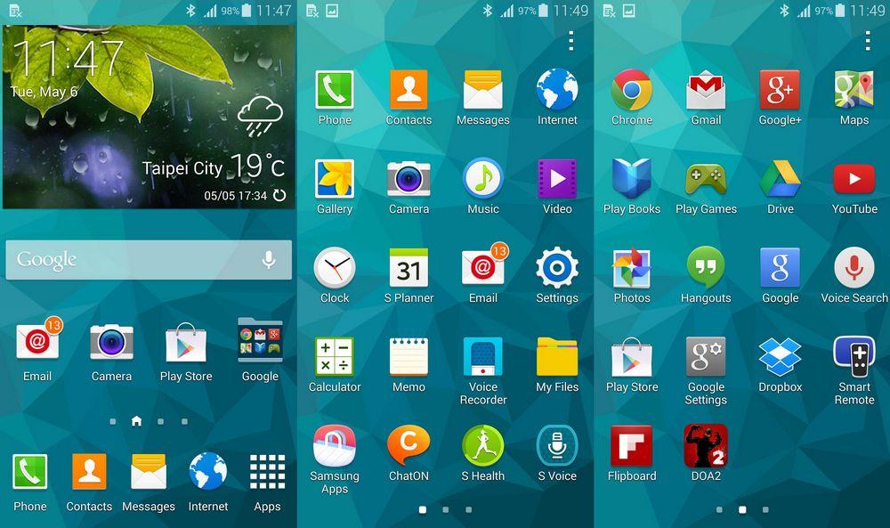 Galaxy S6, les applications sur Touchwiz