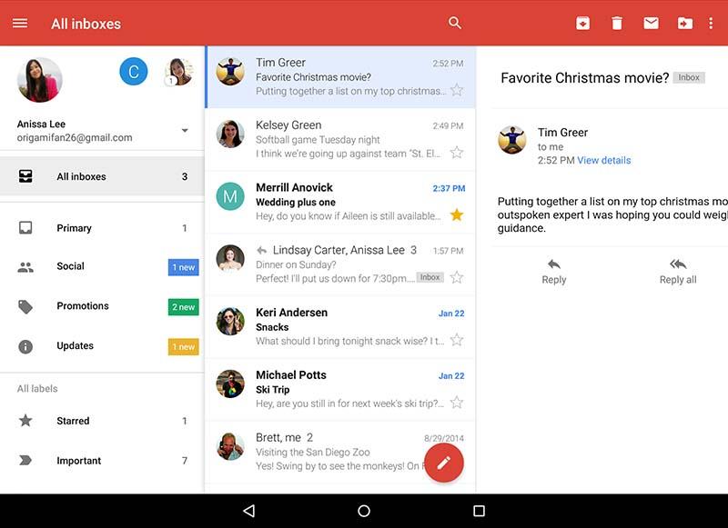 gmail boite aux lettres unifiee