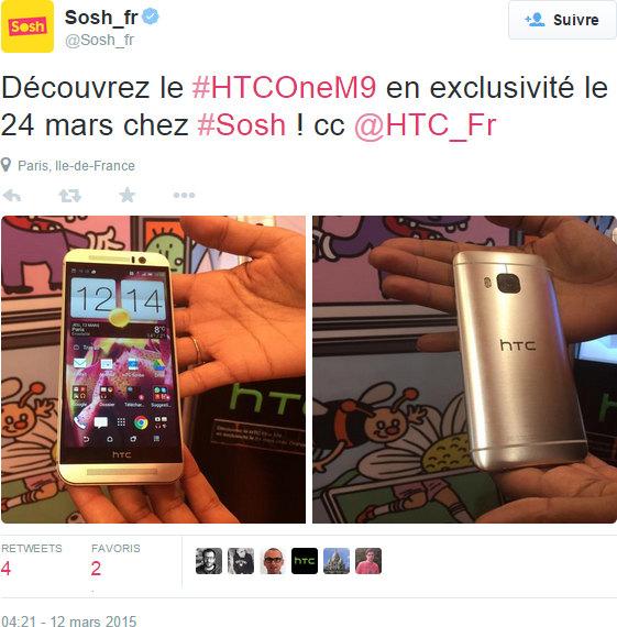 HTC One M9, les précommandes chez Sosh