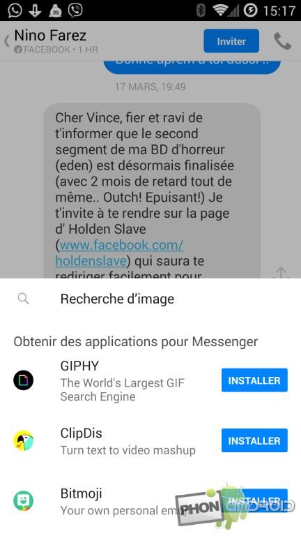 Messenger, envoyer un GIF