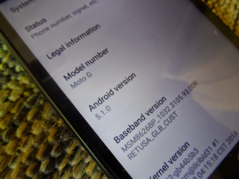 Moto G Android 5.1Lollipop informations système