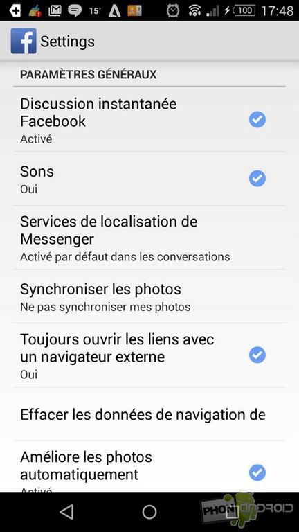 navigateur Facebook désactiver