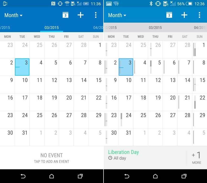HTC One M9 HTC Sense 7 calendrier