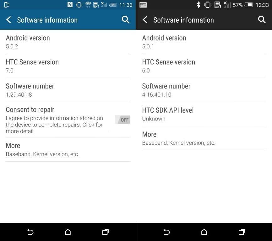 HTC One M9 HTC Sense 7 informations logicielles