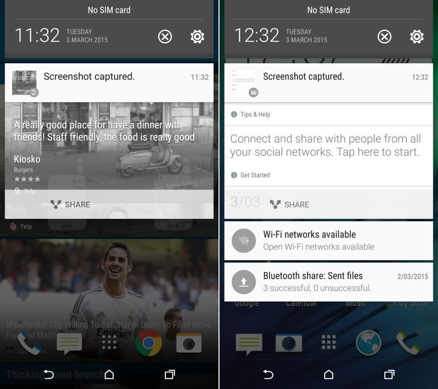 HTC One M9 HTC Sense 7 notifications