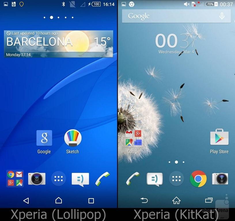 Sony Xperia UI Lollipop Accueil