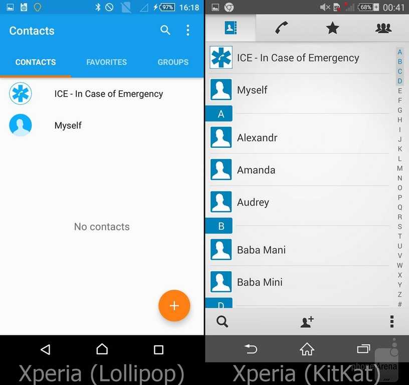 Sony Xperia UI Lollipop contacts