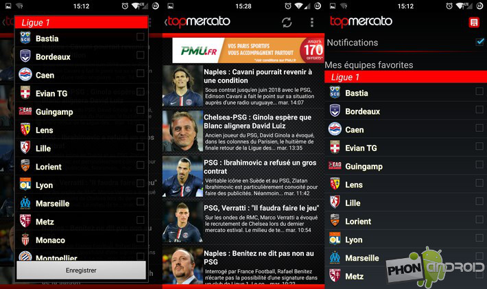 Top Mercato Actu Foot test appli