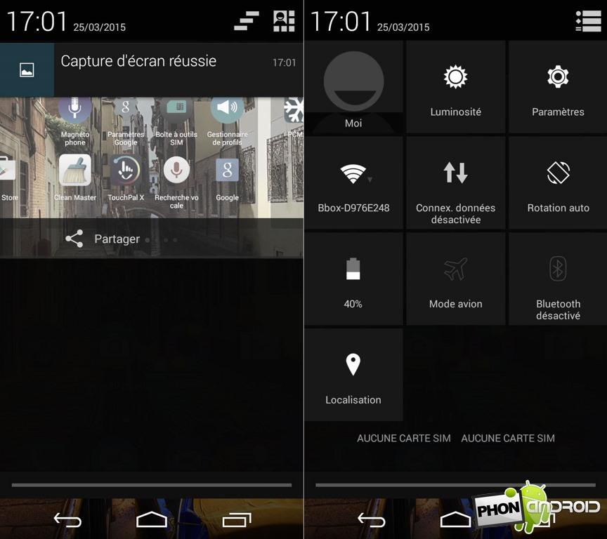 wiko ridge 4g notification raccourci