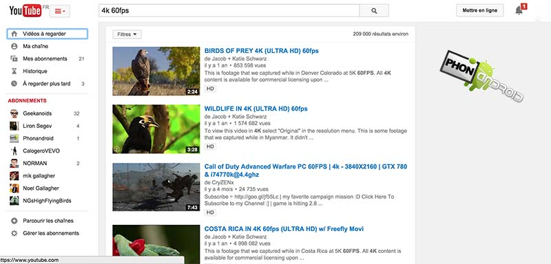 youtube 4k videos 60 images seconde test
