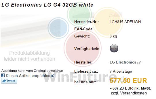 LG G4 plastique prix