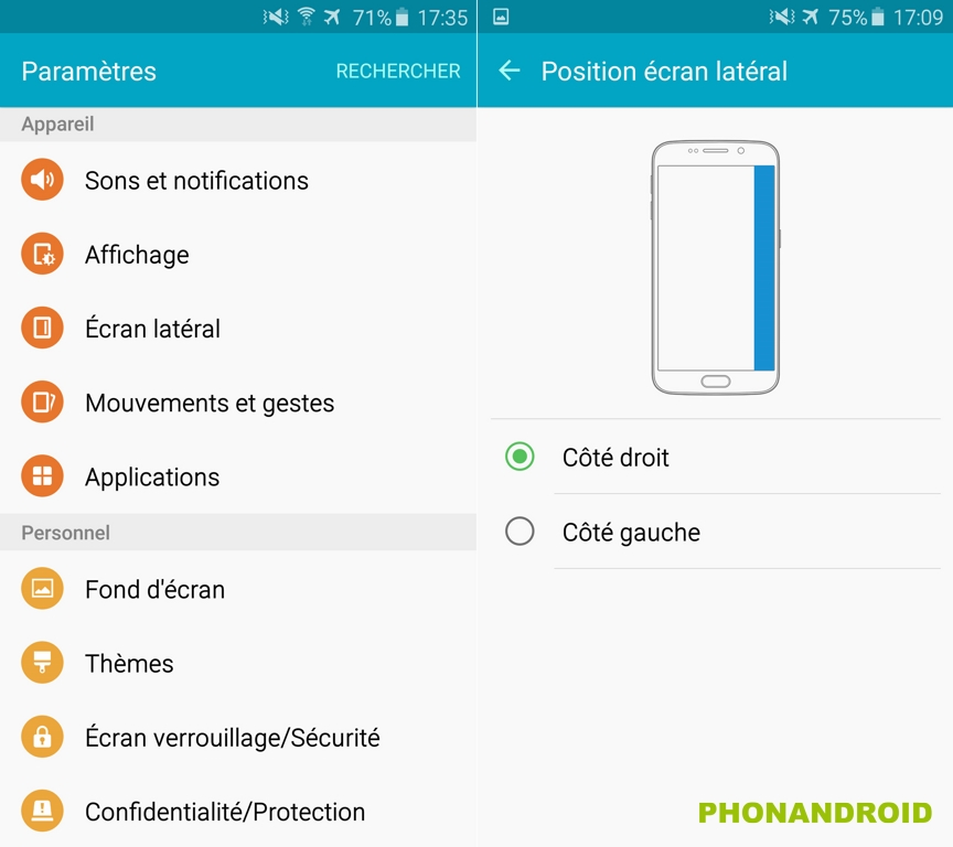 galaxy s6 edge ecran lateral