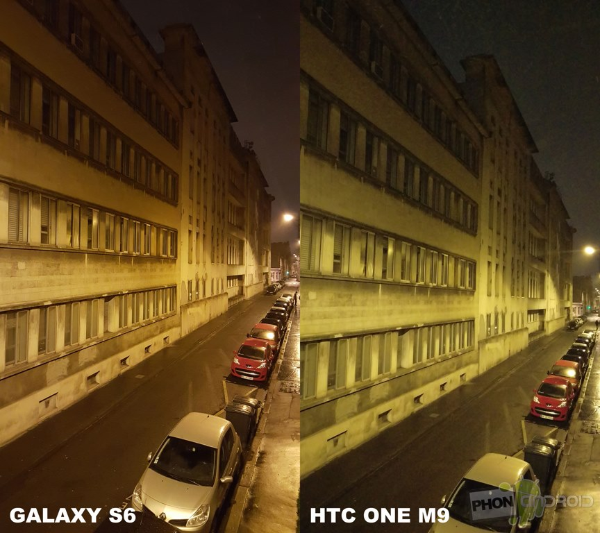 galaxy s6 htc one m9 photographie nuit