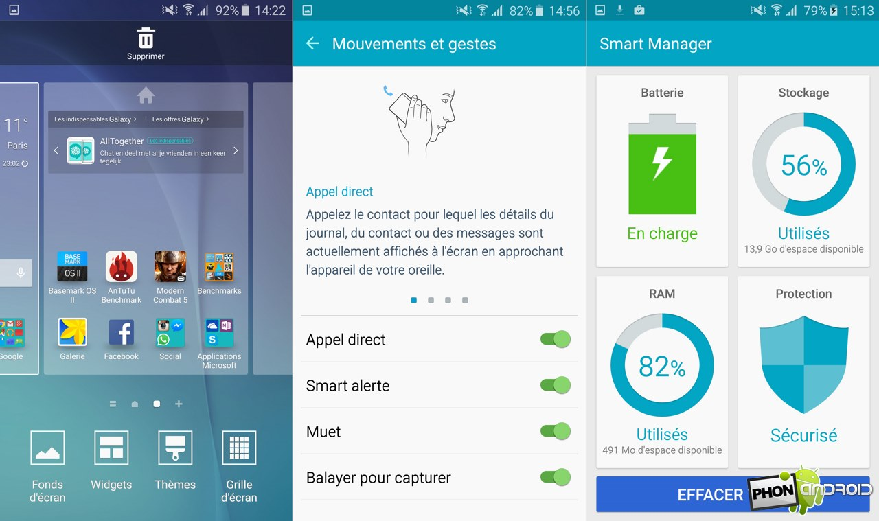galaxy s6 mouvement geste