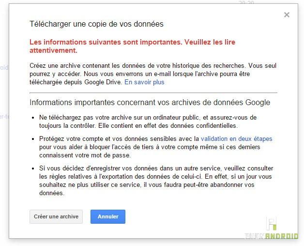Google envoi dossier compressé