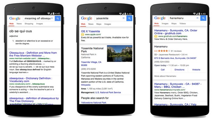 google interface légère