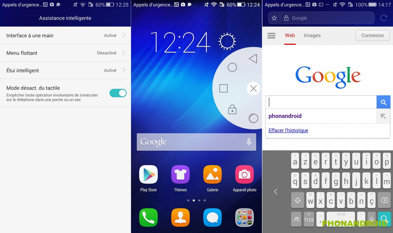 honor 4x interface une main