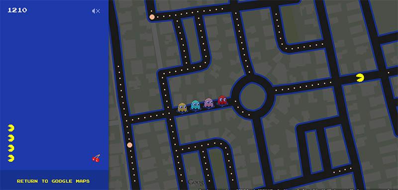 jouer pacman google maps easter egg