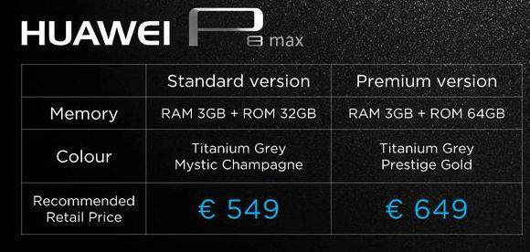 prix Huawei P8 Max