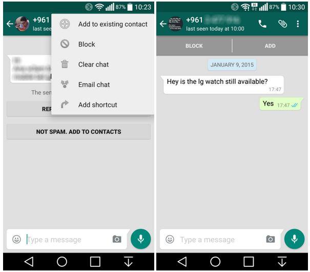 WhatsApp ajouter contact