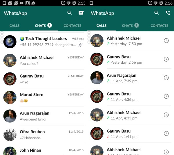 WhatsApp Material design contact