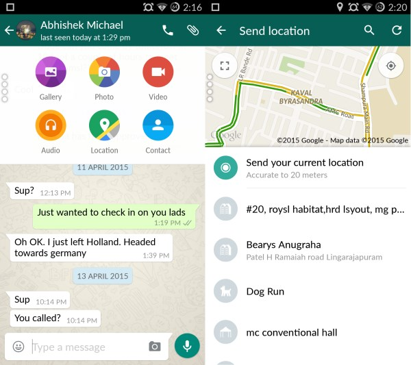 WhatApp Material design messages