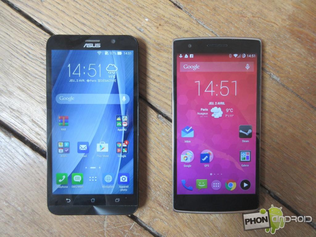 Zenfone 2, comparatif avec le OnePlus One