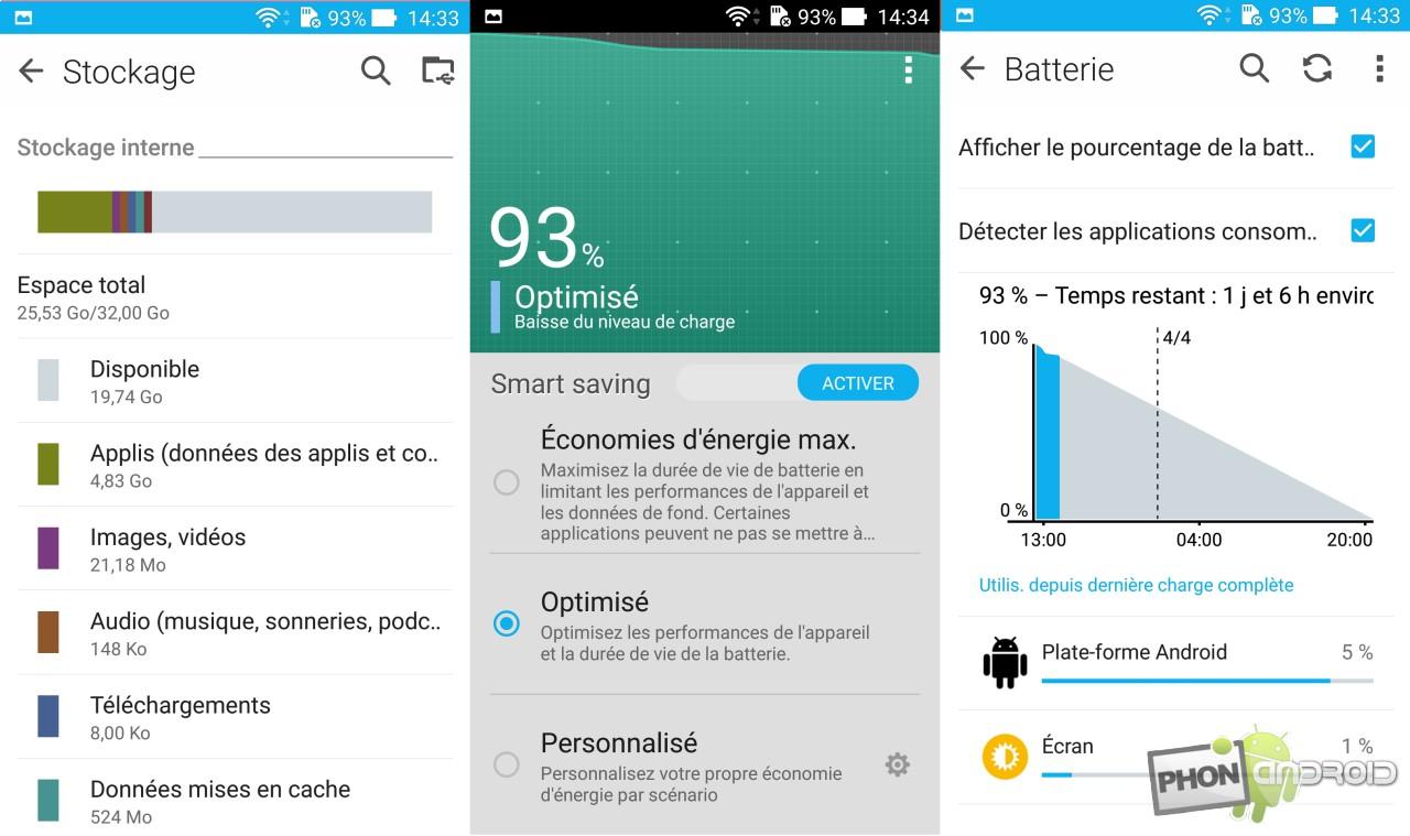 Zenfone 2, interface batterie