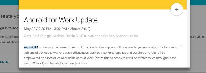 Une mention explicite quant à la présence d'Android M à la Google I/O 2015.