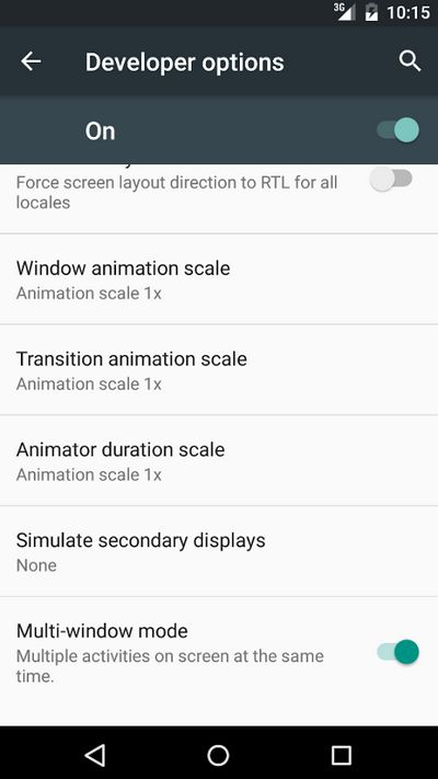 Android M multi-fenetres