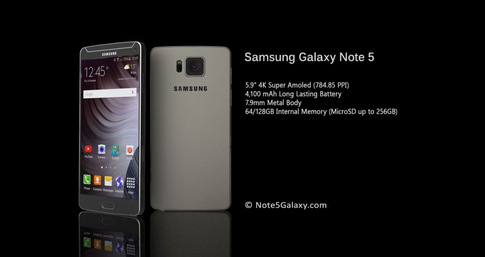 Galaxy Note 5 concept fiche technique