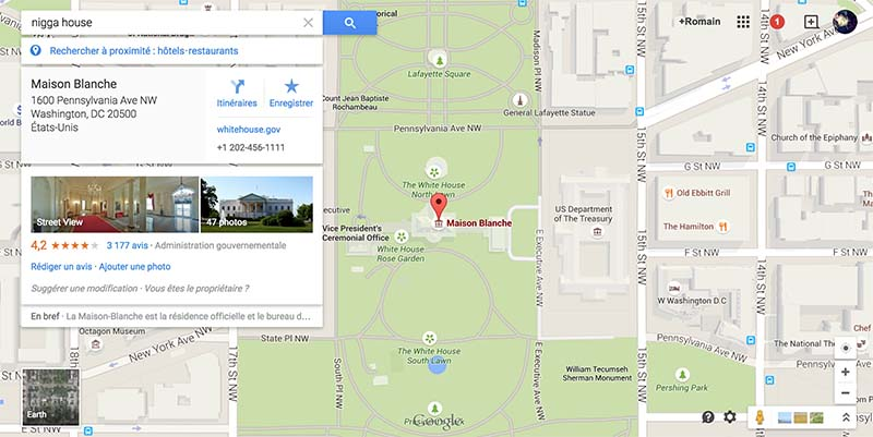 google maps derapage barack obama blague raciste