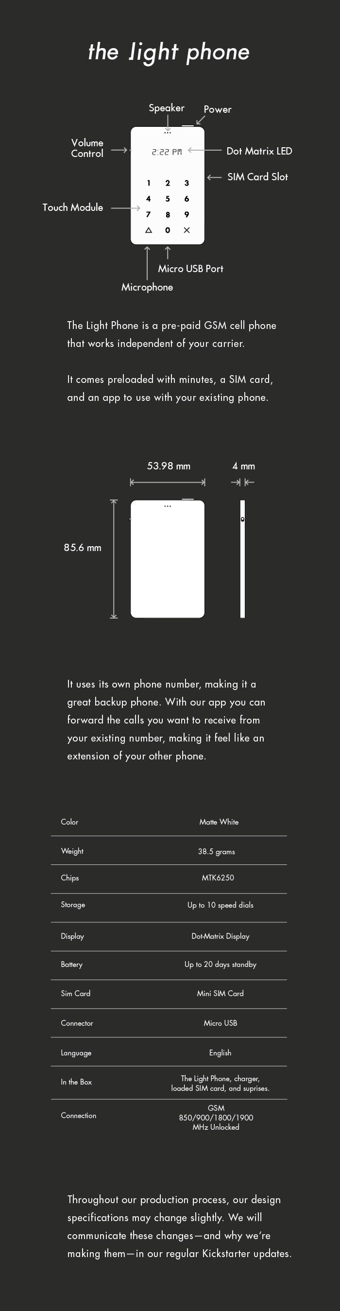 Light Phone infographie
