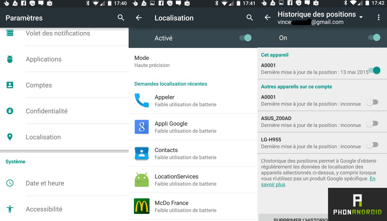 localisation Google paramètres Android