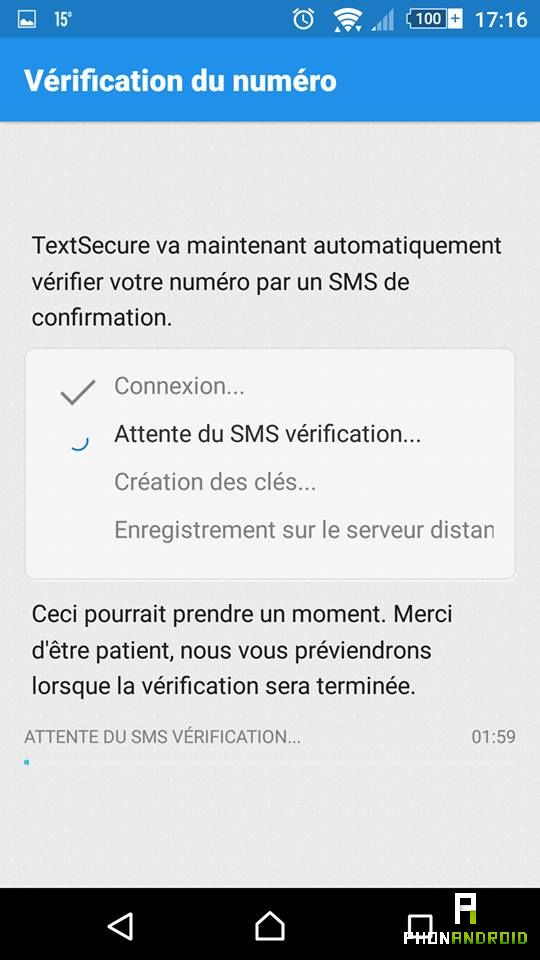 TextSecure activer