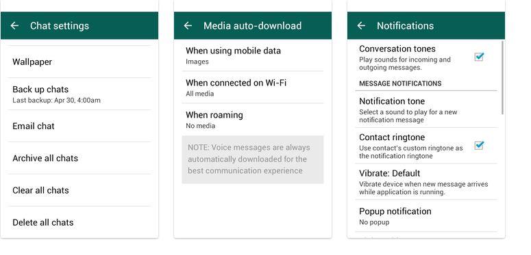 WhatsApp parametres