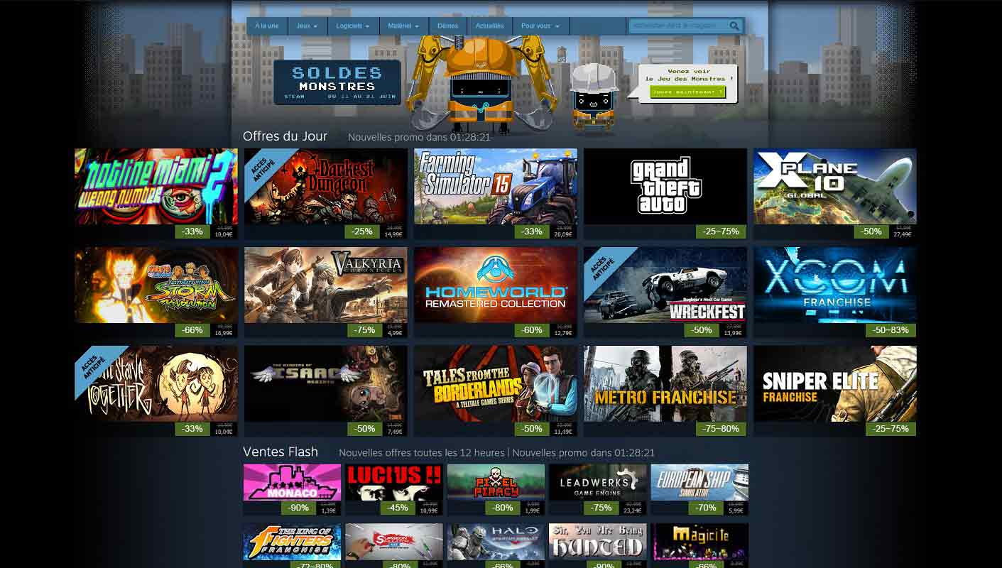 Page d'accueil du site Steam
