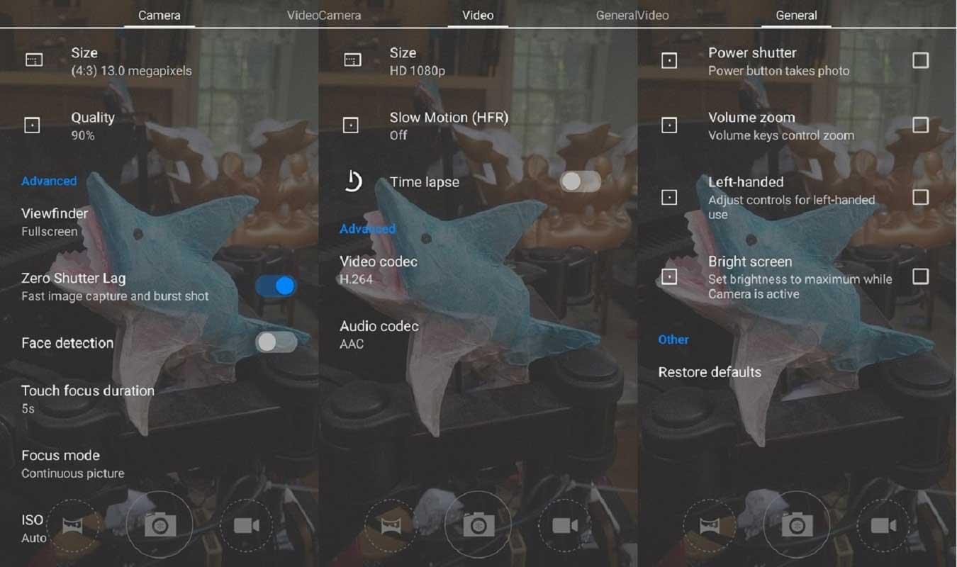 Aperçu de l'interface paramètres de l'appli photo de Cyanogen OS