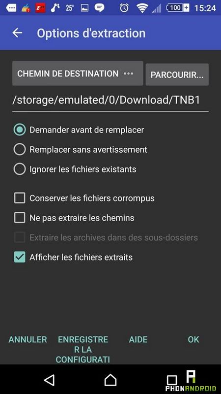 extraire fichier ZIP Android
