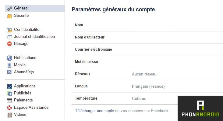 Facebook parametres