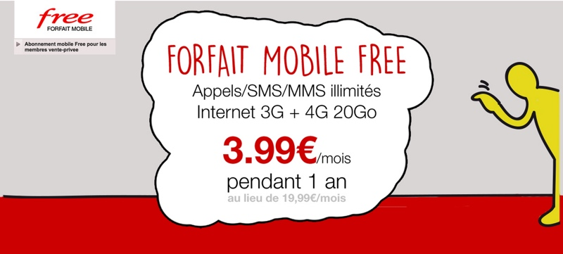 vente priv e free mobile forfait illimit 3 99 euros. Black Bedroom Furniture Sets. Home Design Ideas