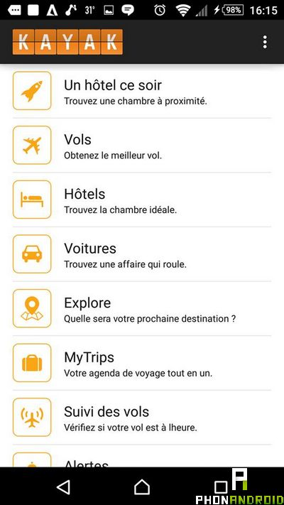 Kayak application vacances