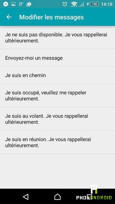 refuser appel SMS