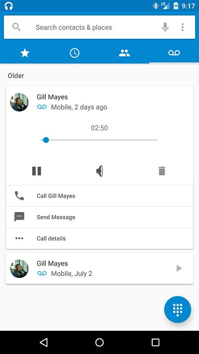 Boîte vocale visuelle Android M